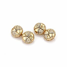 Bulgari Bulgari Diamond 18k Yellow Gold Fancy Button Chain Cufflinks