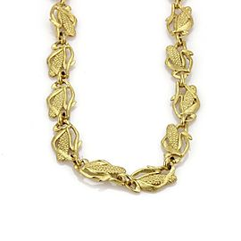 18k Yellow Gold All Around Corn Stalk Link Long Necklace