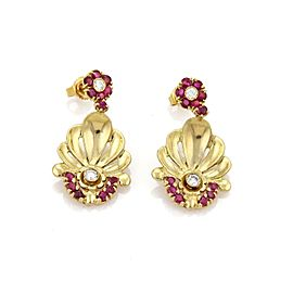 Vintage 1.90ct Ruby & Diamond 14k YGold Concave Floral Dangling Earrings