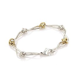 Tiffany & Co. Picasso 925 Silver 18k Yellow Gold Infinity Link Bracelet