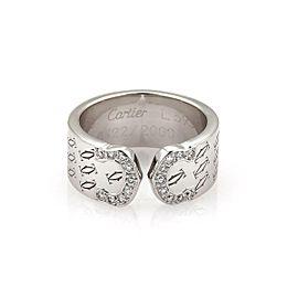 Cartier Logo Double C Diamond 18k White Gold Cuff Band Ring Size 5