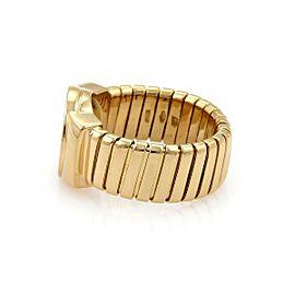 Bvlgari Bulgari Onyx 18k Yellow Gold Tubogas Circle Top Band Ring Size - 7