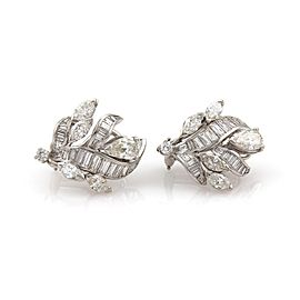 Platinum 5.00 Carat Diamond Floral Design Post Clip Huggie Earrings