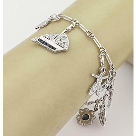 Platinum 3.00ct Diamond Sapphire Ruby & Garnet 11 Charms Chain Bracelet