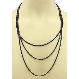 David Yurman Black Sterling Silver Long Box Link Chain Necklace
