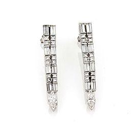 Modern 3.00ct Diamond Platinum 18k White Gold Long Dangle Earrings