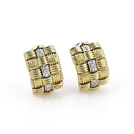 Roberto Coin Appassionata Diamond 18k Two Tone Gold Curved Huggie Earrings