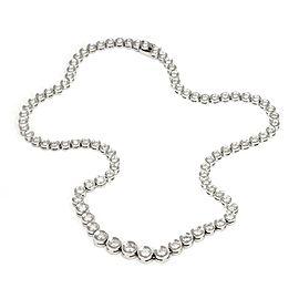 "Platinum 5 Carats Diamonds Graduated Tennis Eternity Necklace 15"" Long"