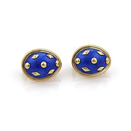 Tiffany & Co. Schlumberger Blue Dot Lozenge Enamel Post Clip Earrings