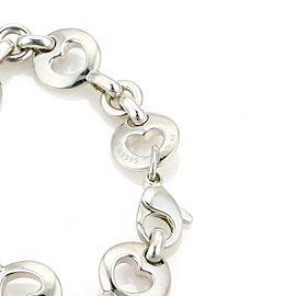 Tifany & Co. 1999 Sterling Silver Stencil Hearts Round Link Bracelet