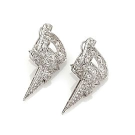 1.50ct Diamond Platinum Milgrain Fancy Design Pos Clip Earrings