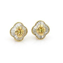 6.50ct Diamond & Yellow Sapphire 18k Yellow Gold Post Clip Earrings