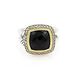 David Yurman ALBION Diamond Onyx Sterling 18k Yellow Gold Cable Band Ring