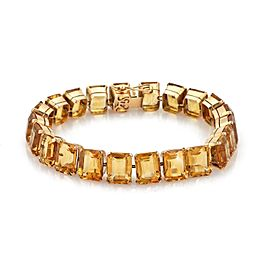Vintage 18.50ct Citrine Gems 14k Rose Gold Tennis Bracelet