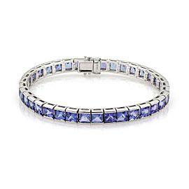 Estate 29 Carats Tanzanite Gems 14k White Gold Tennis Bracelet
