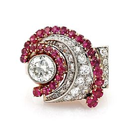Retro 4.17ct Diamond Ruby 14k White & Rose Gold Cocktail Ring Size 6.5