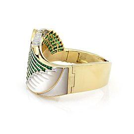 Estate 12.80ct Emerald Diamond Ruby & Mother of Pearl 18k Gold Swan Bracelet