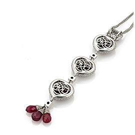 18k White Gold 36 Carats Ruby & Diamond 3 Hearts Dangle Pendant Necklace