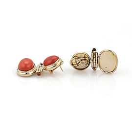 Vintage Coral Citrine 14k Yellow Gold Drop Dangle Earrings