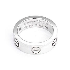 Cartier Love 1 Diamond Platinum 5.5mm Band Ring Size EU 49-US 5