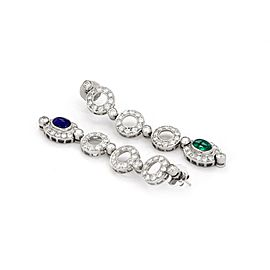 7.25ct Diamond Emerald Sapphire 18k White Gold Drop Dangle Earrings