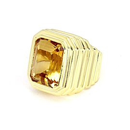 Marlene Stowe 16 Carats Citrine 18k Yellow Gold Fancy Ribbed Design Large Ring Size 6.5
