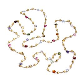 """Marco Bicego Paradise Multi-Color Sapphire Gems 18k Gold Beaded Necklace 51""""L"""