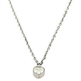 Chopard Happy Diamond 18k White Gold Mini Heart Pendant & Chain