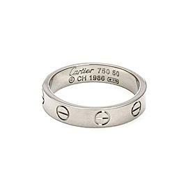 Cartier Mini Love 18k White Gold 3.5mm Band Ring Size 50-US 5 Cert.