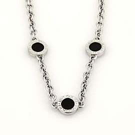 Bulgari Bulgari Onyx 18k White Gold 3 Circle Station Chain Necklace