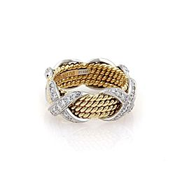 Tiffany & Co Schlumberger 18k & Platinum 4 Row X Ring Size 6.25 Retail $6900