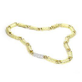 Platinum 18k YGold 1 Carat Diamond Textured Curved Bar Link Necklace
