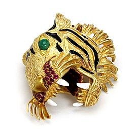Estate 1.75ct Ruby & Emerald Enamel 3D 18k Yellow Gold Tiger Head Brooch