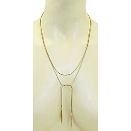 Tiffany & Co. 18k Yellow Gold Snake Chain Double Feather Pendant Necklace