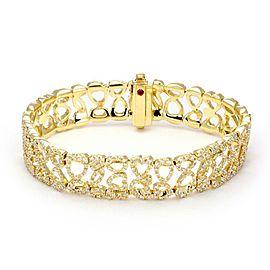 Roberto Coin 6.50ct Diamond 18k Yellow Gold 14mm Wide Open Design Bracelet