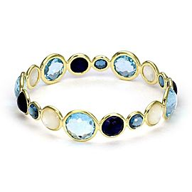 Ippolita 18k Gold Rock Candy Gelato Multi-Color Gems Kiss Bangle Bracelet