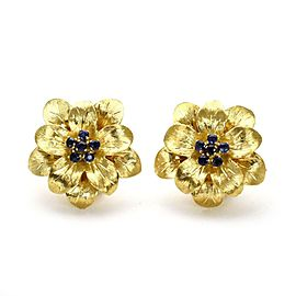Tiffany & Co. Vintage Sapphire 18k Yellow Gold Floral Post Clip Earrings