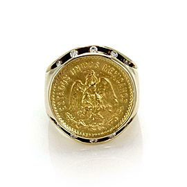 Men's Vintage 22k Mexican Coin Diamond 14k Gold Round Top Ring Size 7
