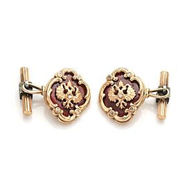 Vintage Russian Signet Diamond 14k Rose Gold Silver Enamel Chain Cufflinks
