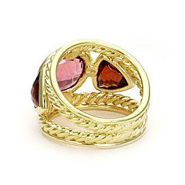 David Yurman Pink Tourmaline & Garnet 18k Yellow Gold Dome Band Ring