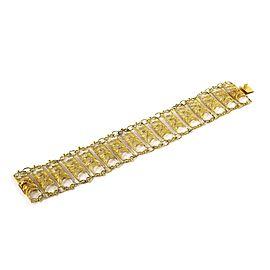 Estate 18k Yellow Gold Fancy Filigree Bars Wide Flex Chain Bracelet