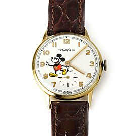 Tiffany & Co. Vintage Micky Mouse Hand Wind Gold Plated Steel Case Watch