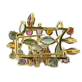 H.Stern Multi-Color Gems 18k Yellow Gold Floral Pendant Brooch