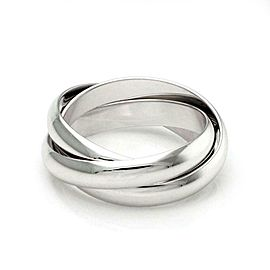 Cartier Trinity 18k White Gold Triple Rolling Band Ring Size 54-US 7 Certificate