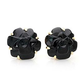 Chanel CAMELLIA Onyx 18k Yellow Gold Carved Flower Post Clip Earrings