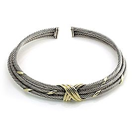 David Yurman Sterling Silver 14k Yellow Gold Triple Cable Choker Necklace
