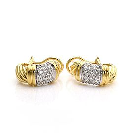 David Yurman Diamond 18k Gold Cable Curved Huggie Earrings