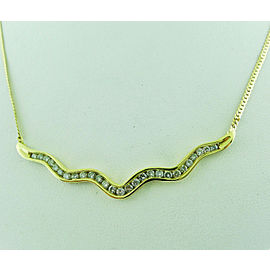 14k Yellow Gold Free Form Diamond Necklace