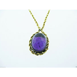 Fine 14K Yellow Gold Amethyst Pendant Rope Necklace Chain