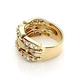 59820 Tiffany & Co. Diamond 18k Yellow Gold Fancy 3 Rows Band Ring Size 5.5